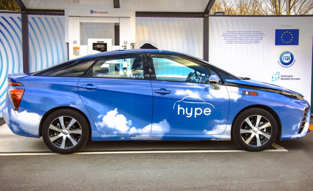 vehicle from the Hype hydrocarbon taxi fleet, by STEP.